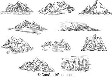 desenho, esboços, natureza, paisagens, montanha