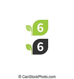 desenho, folha, 6, logotipo, número, conceito, ícone