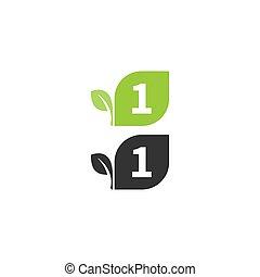 desenho, folha, logotipo, numere 1, conceito, ícone