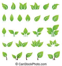desenho, folhas, jogo, verde, elementos