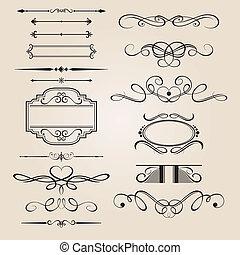 desenho, jogo, vetorial, borda, elemento