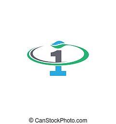 desenho, logotipo, 1, folha, ícone, número, conceito