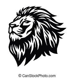 desenho, mascote, esportes, ilustração, cabeça, vetorial, logotipo, leão