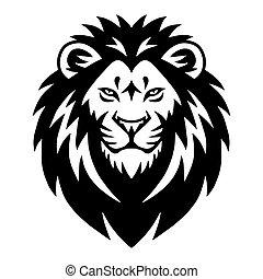 desenho, mascote, esportes, ilustração, cabeça, vetorial, logotipo, modelo, leão