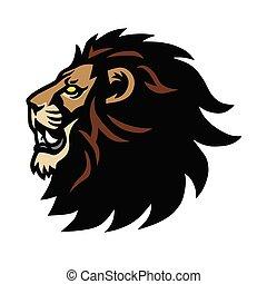 desenho, mascote, esportes, ilustração, rugido, cabeça, vetorial, logotipo, leão