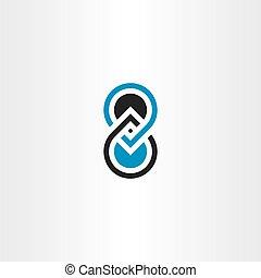 desenho, numere oito, 8, logotipo, ícone