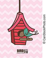 desenho, pássaro