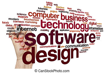 desenho, palavra, nuvem, software