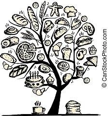 desenho, panificadora, conceito, árvore, seu