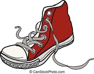 desenho, sapatos, fundo, ilustração, esboço, branco vermelho, trendy