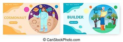 desenho, set., página, profissões, cosmonauta, aterragem, bandeira, builder., site web, ocupações, vetorial, modelo