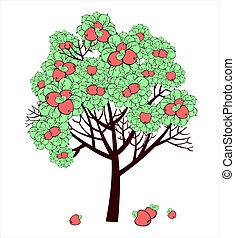 desenho, vetorial, árvore, maçã, frutas