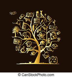 desenho, viagem, conceito, árvore, seu