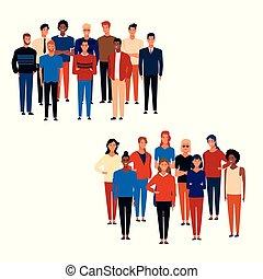 desenhos animados, grupos, pessoas