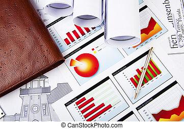desenhos, crescimento, gráficos, diariamente