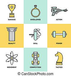 desenvolvimento, apartamento, jogo, ícones negócio, habilidades