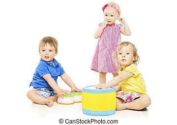 desenvolvimento, crianças, isolado, crianças, pequeno, toys., bebê, tocando