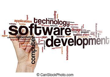 desenvolvimento, palavra, nuvem, software