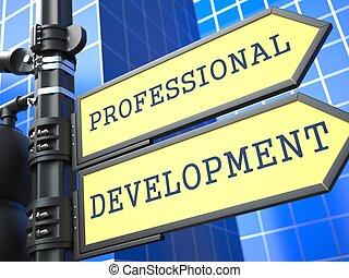 desenvolvimento, profissional, concept., sinal., negócio