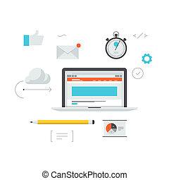 desenvolvimento, teia, ilustração, workflow