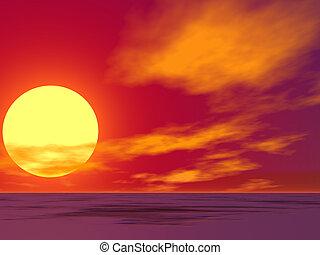 deserto, amanhecer, vermelho