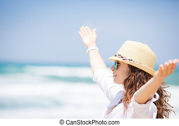desfrutando, mulher, praia, feliz