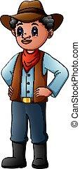desgastar, antigas, carregadores vaqueiro, bandana, chapéu, vermelho
