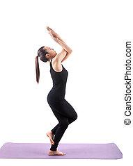 desgastar, corporal, mulher, ioga, sentando, isolado, pretas, asiático, fundo, paleto, retrato, posição, meditação, branca