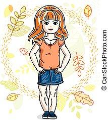 desgastar, cute, pequeno, na moda, vermelho-haired, character., clothes., outono, vetorial, posar, fundo, menina, casual, paisagem, feliz