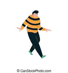 desgastar, dançar, dançarino, excesso de peso, personagem, jovem, ilustração, vetorial, homem, macho, roupas casuais