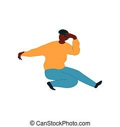 desgastar, dançar, dançarino, personagem, jovem, ilustração, americano, vetorial, homem, macho africano, roupas casuais