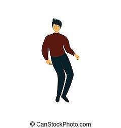 desgastar, dançar, dançarino, personagem, jovem, ilustração, vetorial, homem, macho, roupas casuais