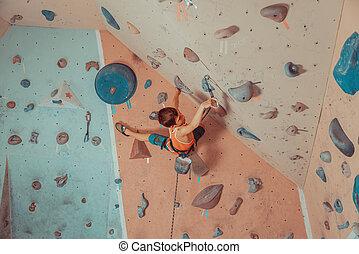 desgastar, menino, indoor, equipamento, segurança, escalando