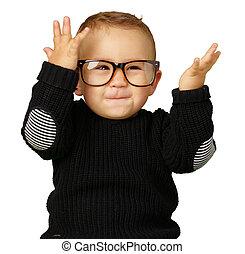 desgastar, menino, olho, bebê, óculos, feliz
