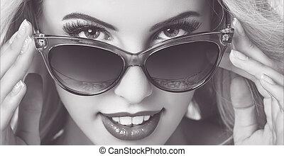 desgastar, mulher, óculos de sol, sedutor