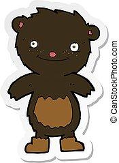 desgastar, pelúcia, adesivo, botas, urso preto, caricatura