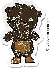 desgastar, pelúcia, afligido, adesivo, botas, urso preto, caricatura, retro