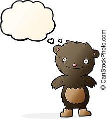 desgastar, pelúcia, botas, pensamento, urso preto, bolha, caricatura