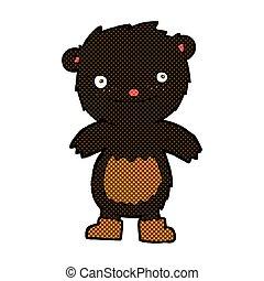 desgastar, pelúcia, botas, urso preto, cômico, caricatura