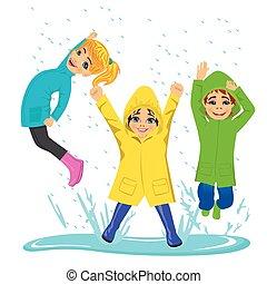 desgastar, pequeno, crianças, coloridos, poça, botas, raincoats, tocando