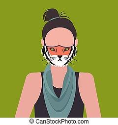 desgastar, perfil, mulher, protetor, apartamento, máscara, conceito, personagem, rosto, tiger, proteção vírus, avatar, femininas, retrato, smog, ar, menina, caricatura, poluição