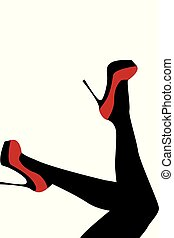 desgastar, sapatos, alto, femininas, calcanhares, pernas, vermelho