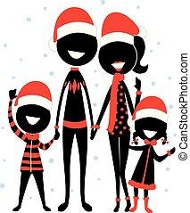 desgastar, silueta, figura, família, vara, ícone, natal, traje