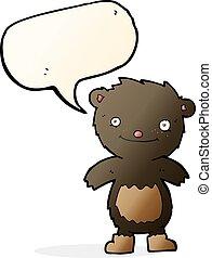 desgastar, urso teddy, pretas, botas, borbulho fala, caricatura