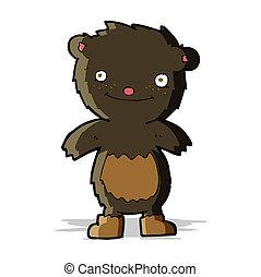 desgastar, urso teddy, pretas, botas, caricatura
