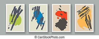 design., abstratos, doodle, mão, escova, mancha, set., geomã©´ricas, artisticos, textura, vetorial, criativo, parede, quadro, bandeira, forma, objeto, artwork, minimalista, cartão postal, cartaz, pintado, tinta, decoração, fundo