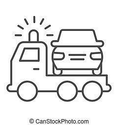 design., teia, estilo, cima, conceito, icon., magra, reboque, vetorial, sinal, móvel, esboço, graphics., danificado, linha, pictograma, branca, caminhão, experiência., acidente, salvamento, car, pico, veículo, símbolo