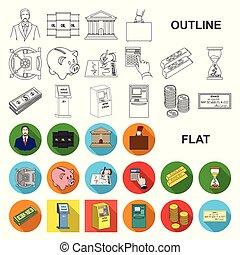 design., vetorial, sucesso, apartamento, finanças, jogo, teia, estoque, cobrança, negócio, sifrão, ícones, illustration.