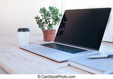desk., fim, abertos, cima., laptop