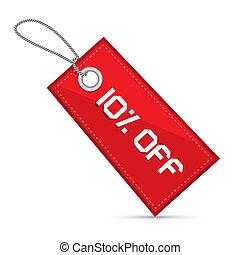 desligado, dez, cento, venda, desconto, papel, etiqueta, tag, cadeias, vermelho